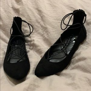 Report lace up flats